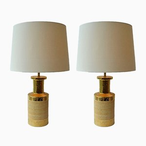 Italian Ceramic & Gold-Plated Table Lamps from Bitossi, 1970s, Set of 2