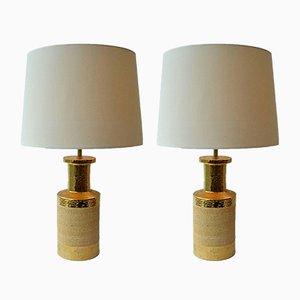 Lampade da tavolo in ceramica e placcate in oro di Bitossi, Italia, anni '70, set di 2