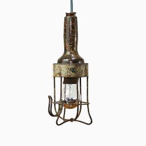 Lámpara de techo Mid-Century de acero y baquelita, años 50