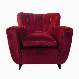 Vintage Art Deco Textile Lounge Chair, 1940s
