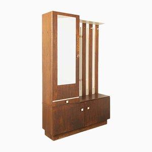 Espejo Mid-Century y armario de madera, años 60