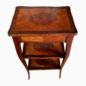 Louis XV French Rosewood Side Table with Marquetry