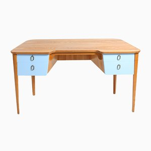 Mid-Century Schreibtisch aus Ulmenholz mit blauen Schubladen, 1940er