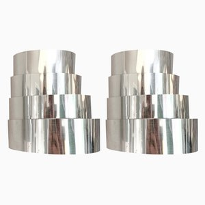 Mid-Century V-312 Chrome-Plated Sconces by Hans-Agne Jakobsson for Hans-Agne Jakobsson AB Markaryd, Set of 2