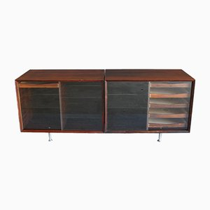 Scandinavian Modern Danish Glass, Rosewood, and Palisander Sideboard by Poul Cadovius, 1960s