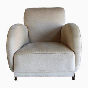 Dänischer Vintage Sessel mit Veloursbezug & Holzgestell, 1930er
