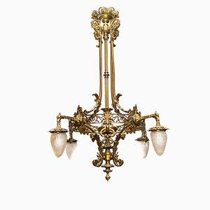Lámpara de araña estilo victoriano de bronce estilo, principios de siglo XX