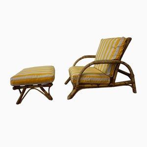 Verstellbarer italienischer Sessel & Fußhocker mit Gestell aus Bambus, 1960er