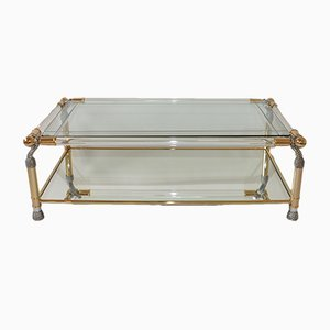 Table Basse Style Hollywood Regency en Lucite et en Laiton, 1980s