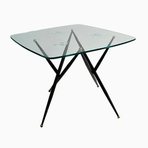 Italian Metal and Etched Glass Coffee Table, 1950s
