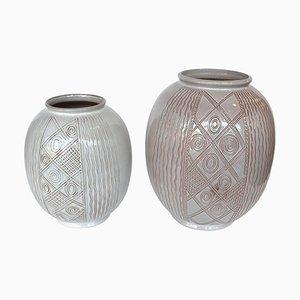 Jarrones holandeses vintage de cerámica de Wim Visser para Sphinx, años 50. Juego de 2