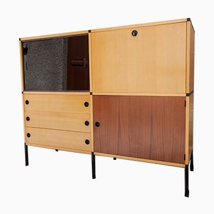 Industrial French Ash & Veneer Dresser with Shelves by ARP for Minvielle, 1960s