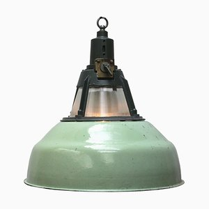 Lampada a sospensione vintage industriale in vetro verde di Holophane
