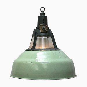 Lámpara colgante industrial vintage de vidrio verde de Holophane