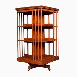 Drehbares antikes Bücherregal aus Nussholz