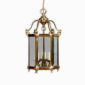 Sechseckige antike Deckenlampe aus Messing