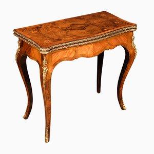 Mesa de juegos antigua de nogal y teca