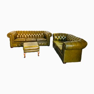 Vintage Set with Chesterfield Sofas & Ottoman, 1980s