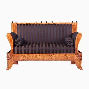 19th-Century Czech Fabric, Ash, and Lacquer Sofa
