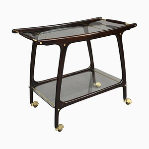 Italian Mahogany Brass and Glass Bar Cart by Cesare Lacca, 1950's
