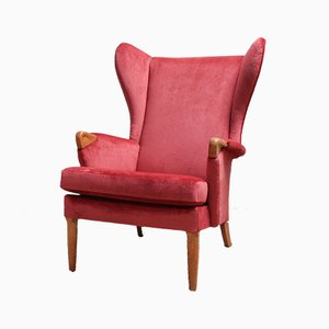 Velvet & Oak Wingback Armchair from Parker Knoll, 1960s