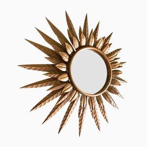 Specchio illuminato a forma di sole di Ferro Arte, anni '50
