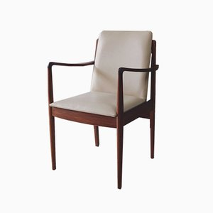 Dänische Esszimmerstühle aus Kunstleder & Teak, 1960er, 2er Set
