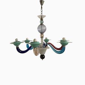 Lámpara de araña italiana de cristal de Murano de Paolo Venini para Murano, años 60