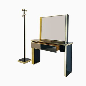 Brass and Glass Console Set, 1970s