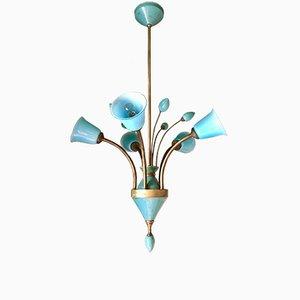 Lampada da soffitto antica in ottone e cristallo, Boemia