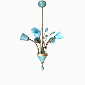 Lampada da soffitto antica in ottone e cristallo di Boemia