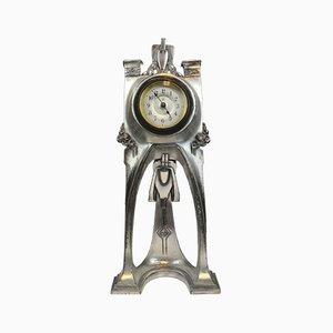 Antike deutsche Uhr aus Metall im Jugendstil