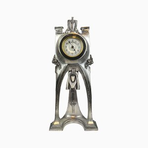 Antique German Art Nouveau Metal Clock from WMF