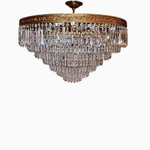 Lámpara de araña italiana de cristal de plomo y bronce, años 50