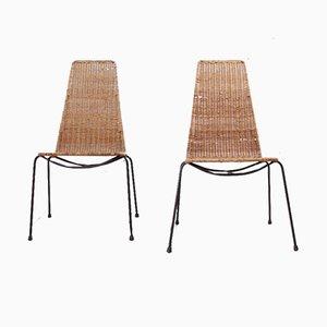 Chaises d'Appoint en Osier et Acier, 1960s, Set de 2