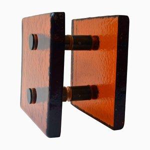 Tirador de puerta francés cuadrado de vidrio naranja, años 70