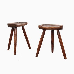 Rustic Pine Stools, 1950s, Set of 2