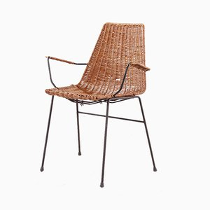 Italian Modern Rattan and Steel Armchair by Gian Franco Legler, 1960s