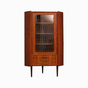 Vintage Danish Glass and Teak Cabinet, 1970s