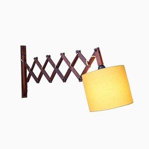 Lámpara de acordeón danesa Mid-Century de teca, años 60