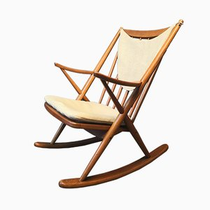 Scandinavian Modern Danish Fabric and Teak Rocking Chair by Frank Reenskaug, 1962