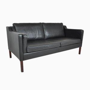 Sofá de dos plazas danés de cuero negro de Stouby, años 60