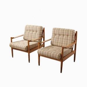 German Beech and Fabric Lounge Chairs, 1960s, Set of 2