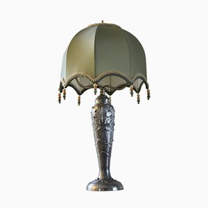 Art Nouveau French Pewter Table Lamp with Satin Shade by Ermenault