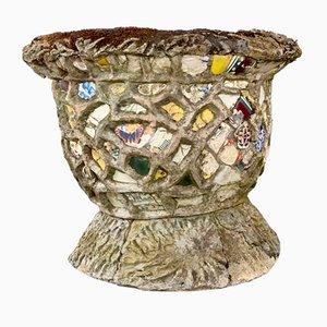 Maceta de jardín y mosaico francesa antigua