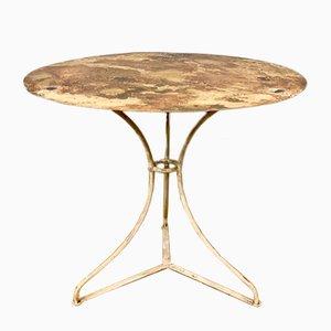 Mesa de jardín francesa antigua de hierro fundido