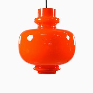 Vintage German Orange Glass Ceiling Lamp from Staff, 1970s
