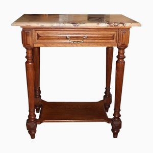 Antique Art Nouveau Oak and Marble Side Table