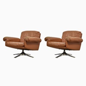 DS31 Swivel Leather Lounge Chairs from de Sede, 1970s, Set of 2
