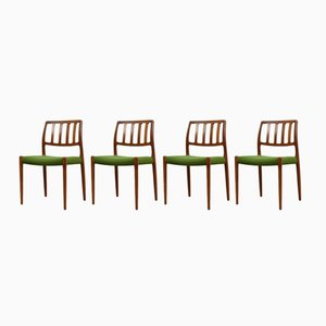 Danish Model 83 Teak Dining Chairs by Niels Otto Møller for J.L. Møllers, 1960s, Set of 4